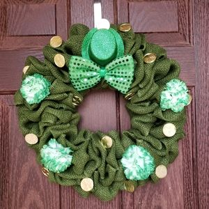 St. Patricks Day Burlap Wreath